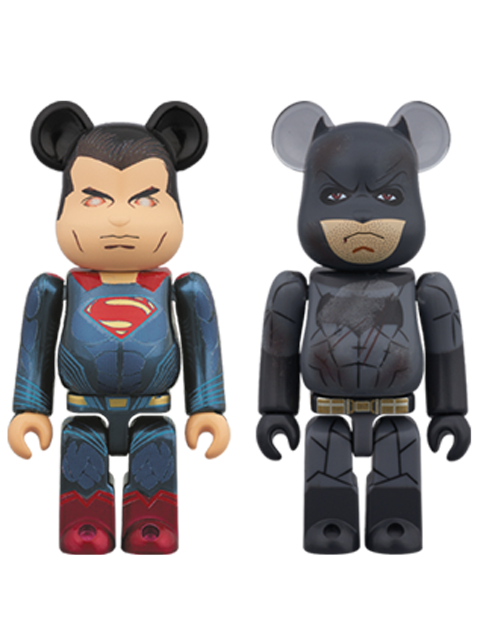 Loppi限定 SUPERMAN(TM)(HEAT VISION Ver.) & BATMAN(TM)(DAMAGE Ver.) 2PACK BE@RBRICK ベアブリック 100%