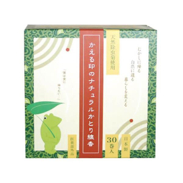 【これが昔ながらの除虫菊の蚊とり線香!】かえる印のナチュラルかとり線香 30巻  [商品番号:ka1122]