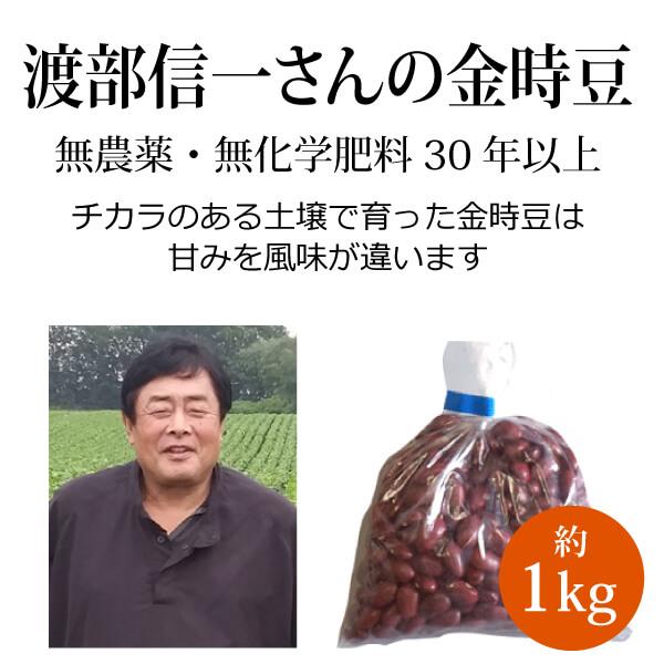 ke3620 渡部信一さんの金時豆約1kg【渡部さんの無農薬・無化学肥料栽培金時豆/北海道産】