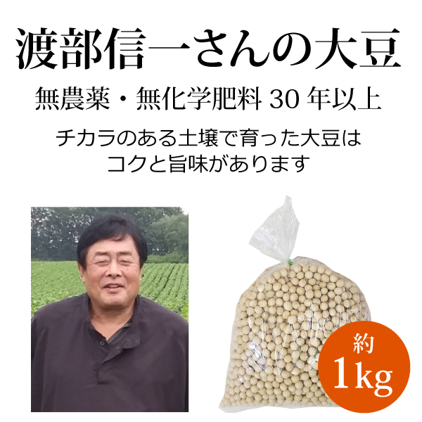 ke3622 渡部信一さんの大豆約1kg【大人気! 渡部さんの無農薬・無化学肥料栽培大豆/北海道産】