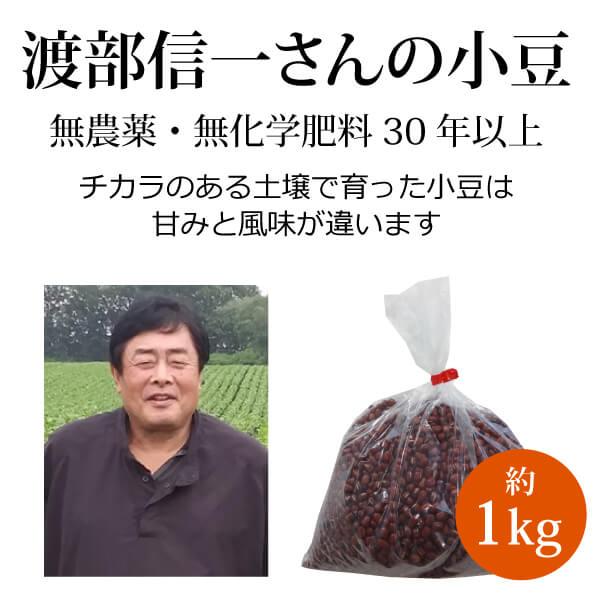 ke3623 渡部信一さんの小豆約1kg【大人気! 渡部さんの無農薬・無化学肥料栽培小豆/北海道産】