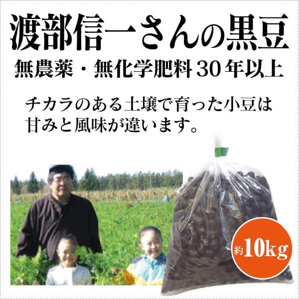 ke3684 渡部信一さんの黒豆約10kg(約1kg×10袋)【無農薬黒豆約10kg/生産者直送品/送料無料(全国発送可)/単品代引き不可】