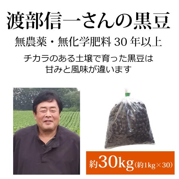 ke3914 渡部信一さんの黒豆約30kg(約1kg×30袋)【無農薬黒豆約30kg(約1kg×30袋)/生産者直送品/送料無料(全国発送可)/単品代引き不可】