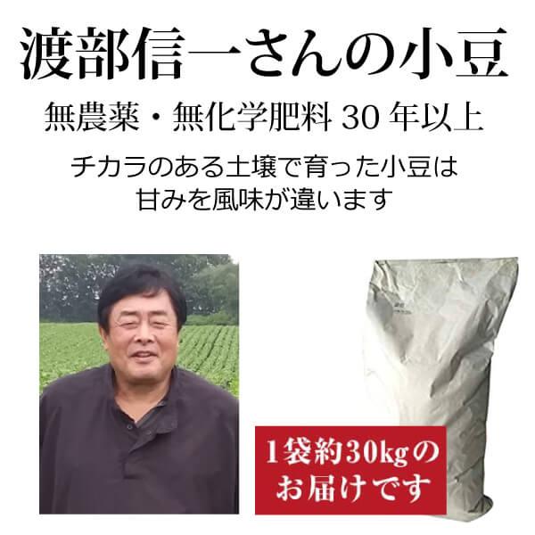 ke3919 渡部信一さんの小豆約30kg(約30kg×1袋)【無農薬小豆約30kg(1袋)/生産者直送品/送料無料(全国発送可)/単品代引き不可】