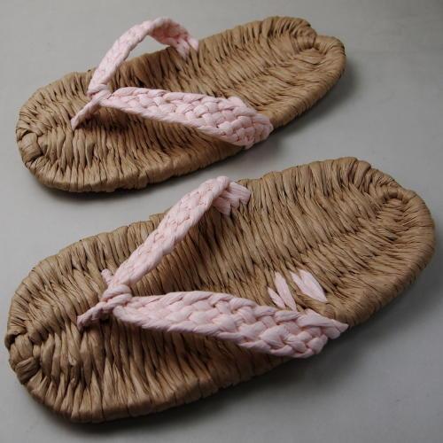 和紙の糸製品 イシカワ 手編み和紙ぞうり 鼻緒(ピンク)平織特製タイプ 約24cm 耐水性 完成品Z-2700P(180056)