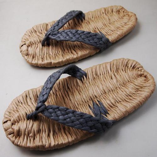 和紙の糸製品 イシカワ 手編み和紙ぞうり 鼻緒(グレイ)平織特製タイプ 約24.5cm 耐水性 完成品Z-2700G(180057)
