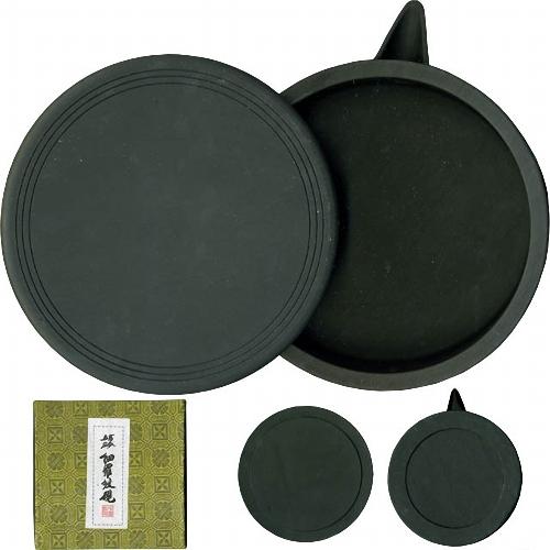 600411 中国硯 細羅紋硯 丸型 5吋 550012