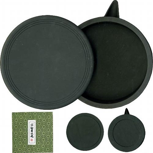 600413 中国硯 細羅紋硯 丸型 7吋 550014