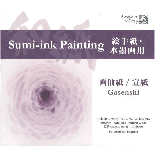 609470 アートパッド画仙紙/宣紙 色紙サイズ 平米208g 一辺糊付き15枚綴り 8390403