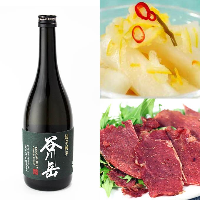 ギフトセット/谷川岳超辛純米・たにがわ漬ゆずだいこん・ポークジャーキー/酒の瀧澤