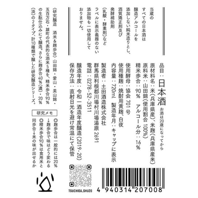 土田酒造研究醸造米違いNo.1