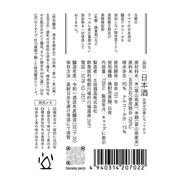 土田酒造研究醸造米違いNo.3