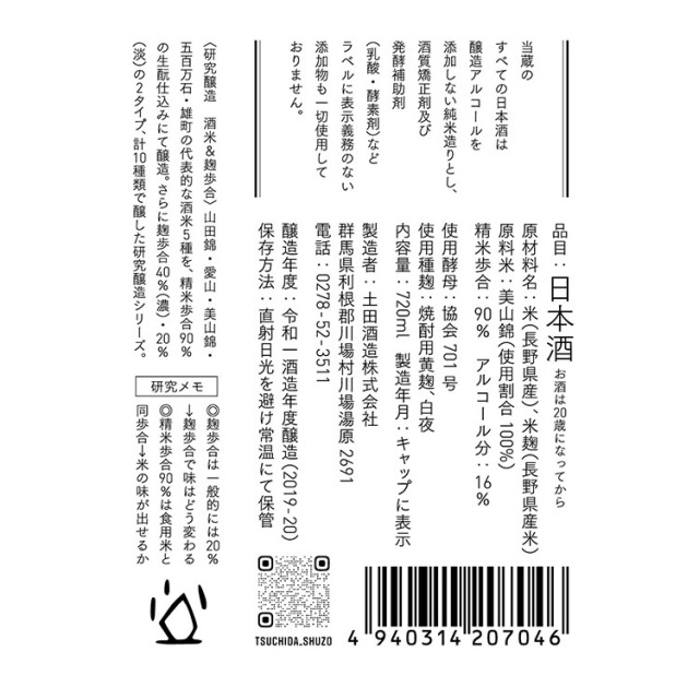 土田酒造研究醸造米違いNo.5