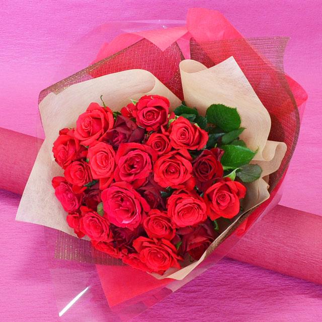 25本のバラ花束 【赤系】