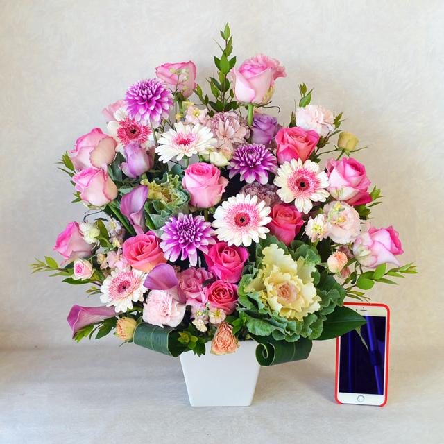 生花アレンジメント 【ピンク系】