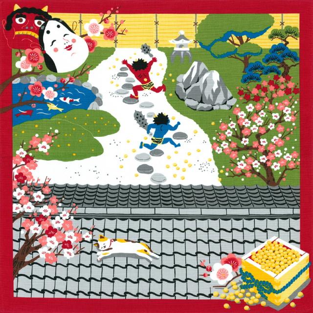 風呂敷 綿小風呂敷 約50cm 三毛猫みけの夢日記 みけの節分 2月 Furoshiki 【International shipping OK】