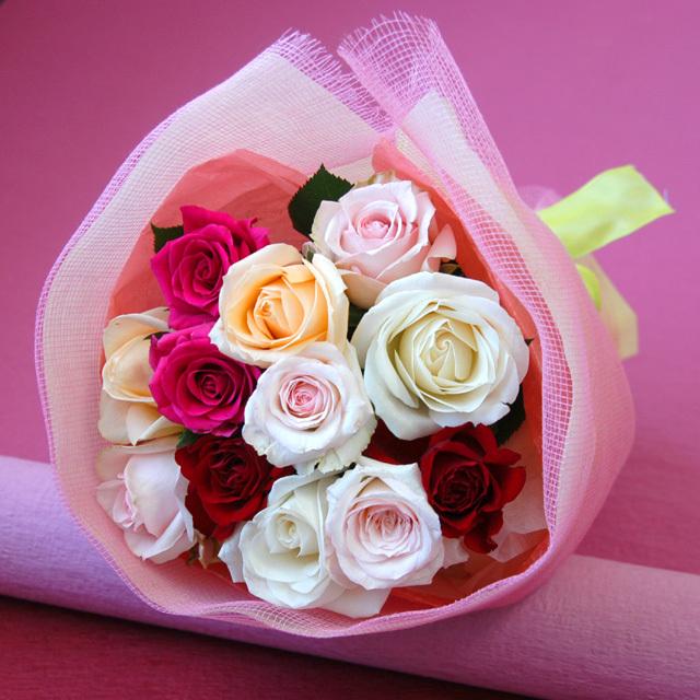 1ダースのバラの花束/dozen roses/ダズンローズ 【おまかせミックス系】