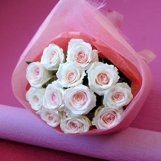 1ダースのバラの花束/dozen roses/ダズンローズ 【ライトピンク系】
