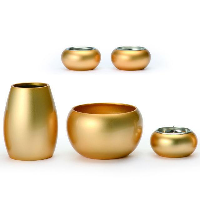 まどろみ ブラスト金 仏具セット 5具足 真鍮製 おしゃれ ミニ モダン 小 日本製