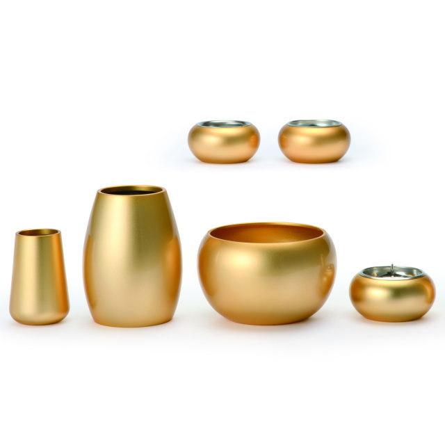 まどろみ ブラスト金 仏具セット 6具足 真鍮製 おしゃれ ミニ モダン 小 日本製