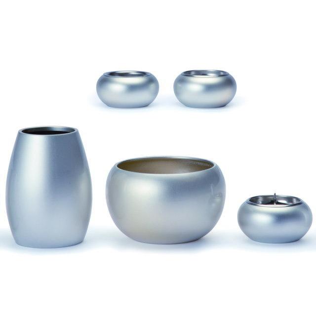 まどろみ ブラスト銀 仏具セット 5具足 真鍮製 おしゃれ ミニ モダン 小 日本製