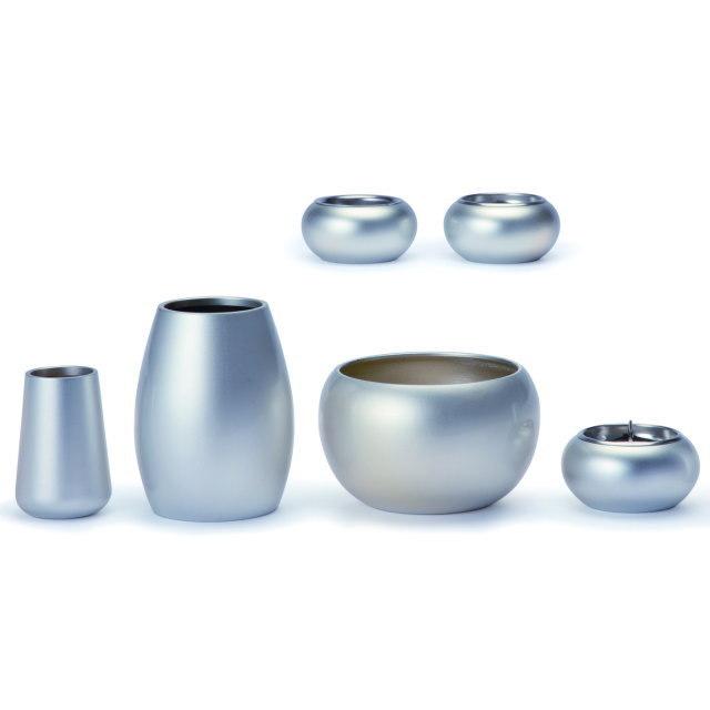 まどろみ ブラスト銀 仏具セット 7具足 真鍮製 おしゃれ ミニ モダン 小 日本製