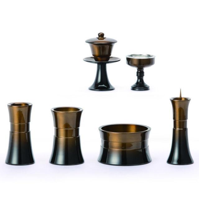 仏具セット 杵型 ゴールデンオーク 6具足 2.5寸 真鍮製
