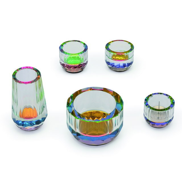 仏具セット ミニクリスタル レインボー 5具足 クリスタルガラス製
