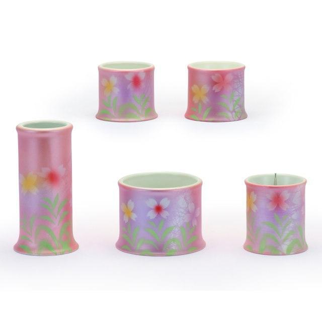仏具セット 加賀友禅 九谷焼 桃花 ももか 5具足 陶磁器製