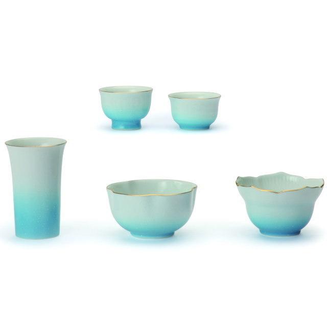 仏具セット ふるさと 有田焼 5具足 ブルー 陶磁器製