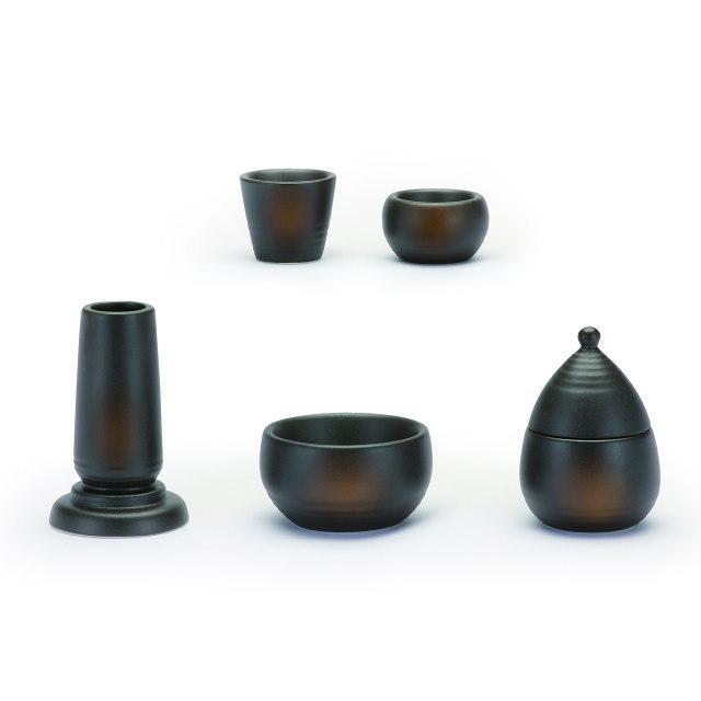 仏具セット 陶器モダン仏具 美濃焼 5具足 備前吹き 陶磁器製