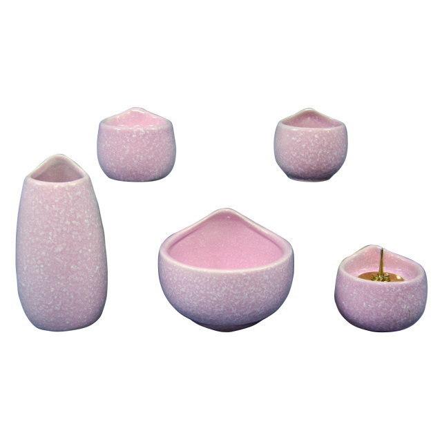仏具セット しずく 美濃焼 6具足 ピンク 陶磁器製