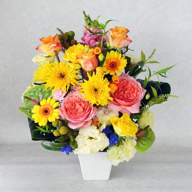 生花アレンジメント 【黄色オレンジ系】