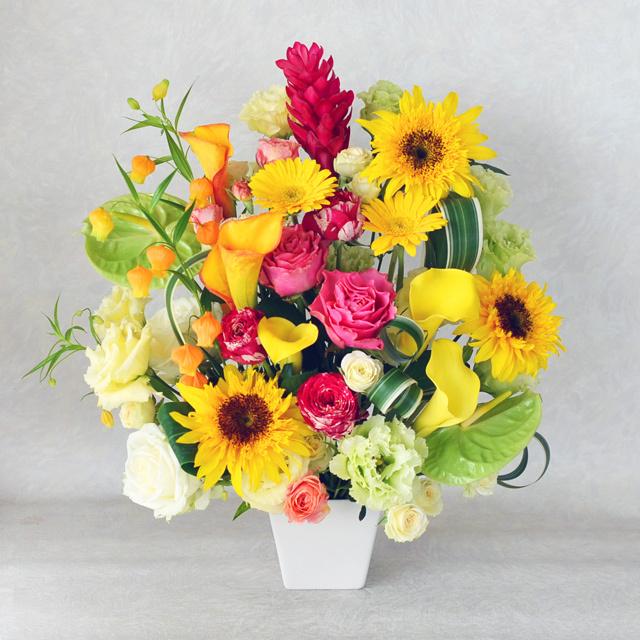 生花アレンジメント【黄色オレンジ系】