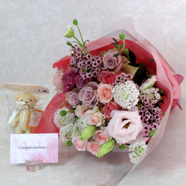 花束 【ピンク系】&アロマ・テディ・ベア