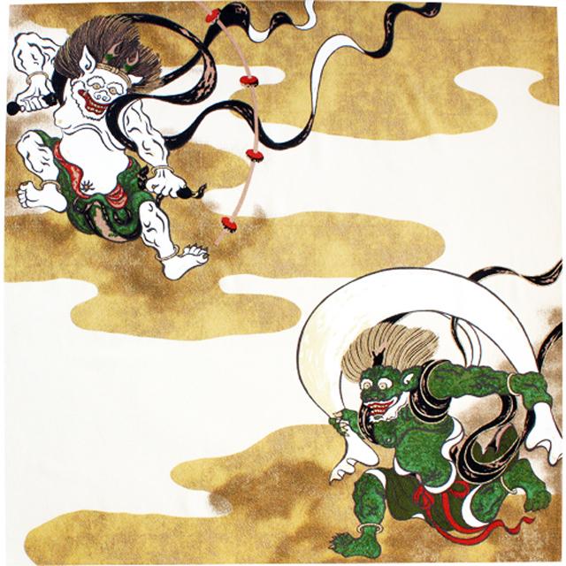 風呂敷 二巾 約68cm 風神雷神 Furoshiki
