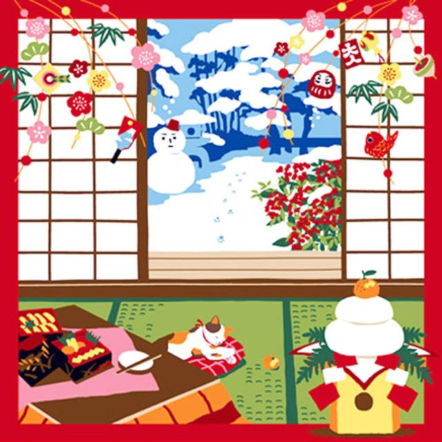 風呂敷 綿小風呂敷 約50cm 三毛猫みけの夢日記 みけの初夢 1月 Furoshiki 【International shipping OK】