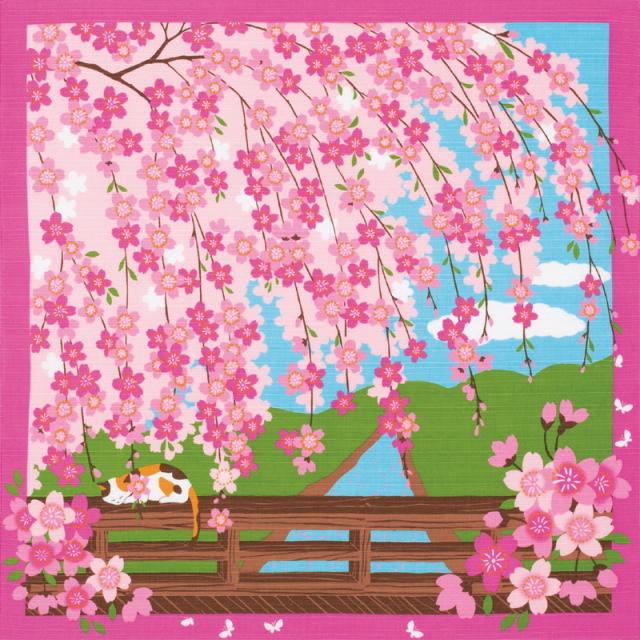 風呂敷 綿小風呂敷 約50cm 三毛猫みけの夢日記 みけのお花見 4月 Furoshiki 【International shipping OK】