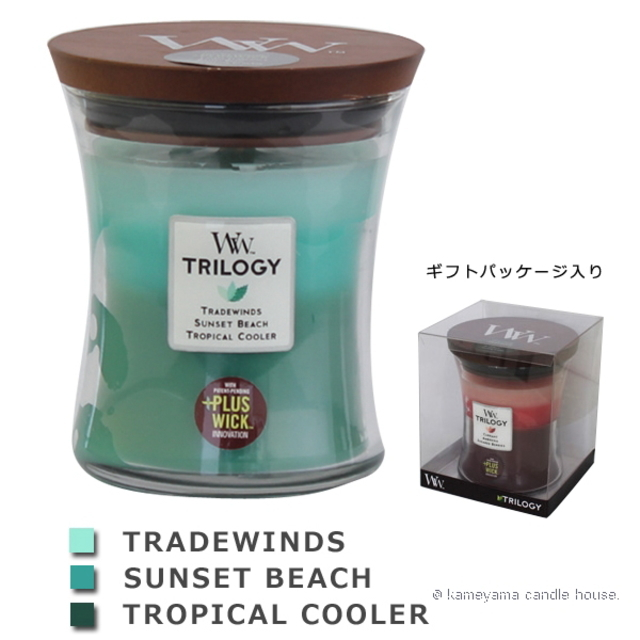 Wood Wick TRILOGY candle トリロジージャーM オーシャンエスケープ 【International shipping OK】