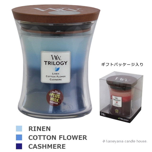 Wood Wick TRILOGY candle トリロジージャーM クローズラインフレッシュ 【International shipping OK】