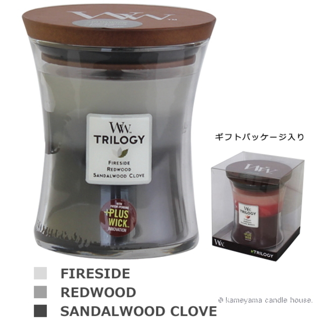 Wood Wick TRILOGY candle トリロジージャーM ウォームウッズ 【International shipping OK】