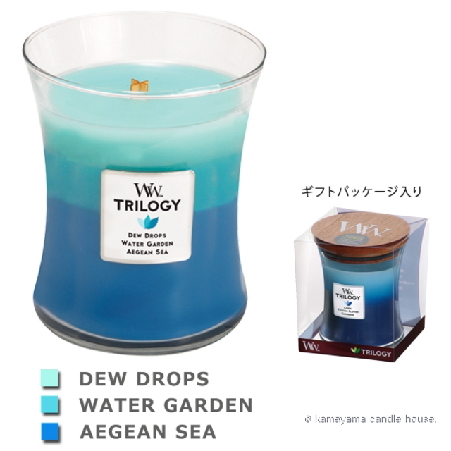Wood Wick TRILOGY candle トリロジージャーM ジェントルレイン 【International shipping OK】