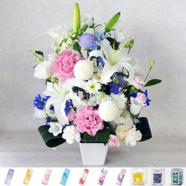 お供えアレンジメント 【和風】 / 宇野千代のお線香 淡墨の桜 or キャンドル