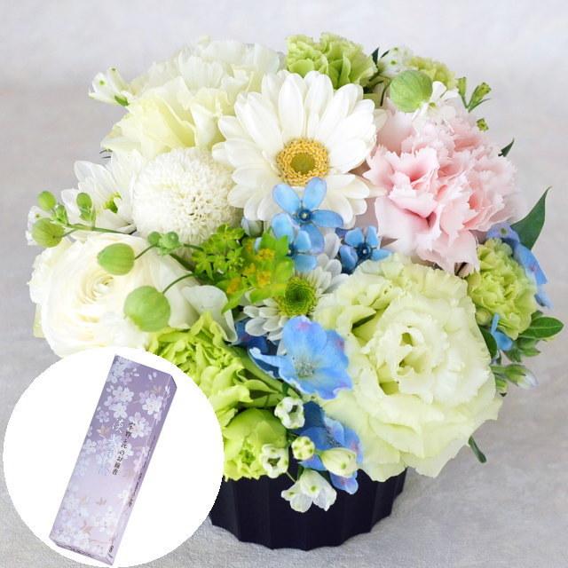 お供えアレンジメント・宇野千代のお線香 淡墨の桜 小バラ詰 セット