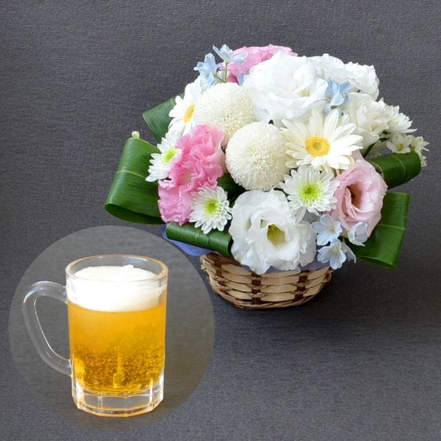 お供え,御供え,アレンジメント,供花,仏花,フラワー,お花&お線香【ミニジョッキキャンドル】