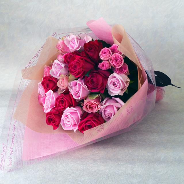 バラの花束 ピンク系