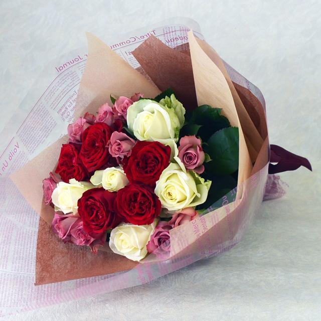 バラの花束 赤系