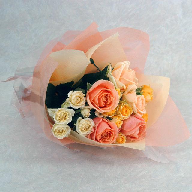 バラの花束 【黄色オレンジ系】