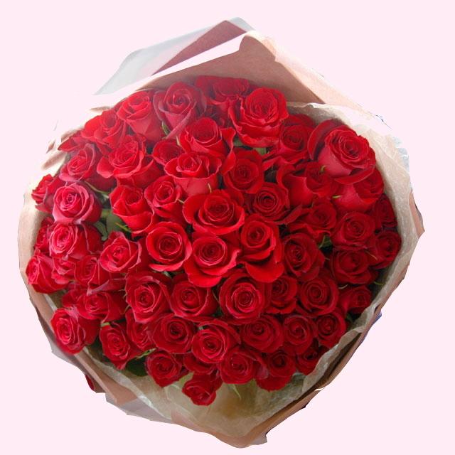 ソワサント・60本のバラの花束【レッド】還暦