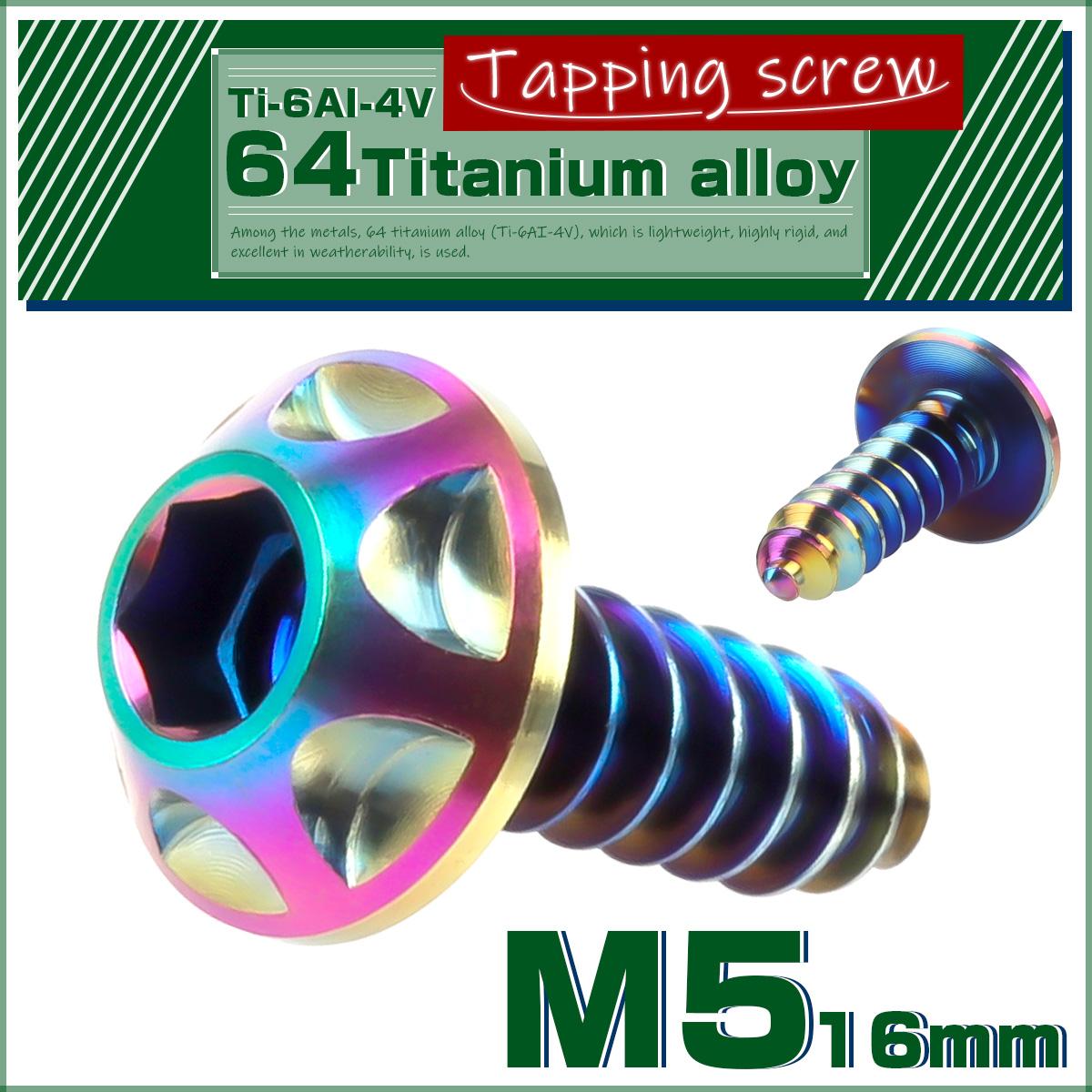 【ネコポス可】 64チタン合金(TC4 GR5 Ti-6Al-4V) M5 カッティングヘッド タッピングネジ ビス スクリュー 焼チタン風 虹色 JA036